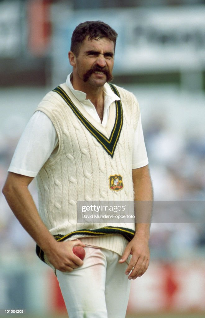 Merv Hughes of Australia during the first day of the 4th Test match between England and Australia at Old Trafford in Manchester, 27th July 1989. Australia won by 9 wickets.