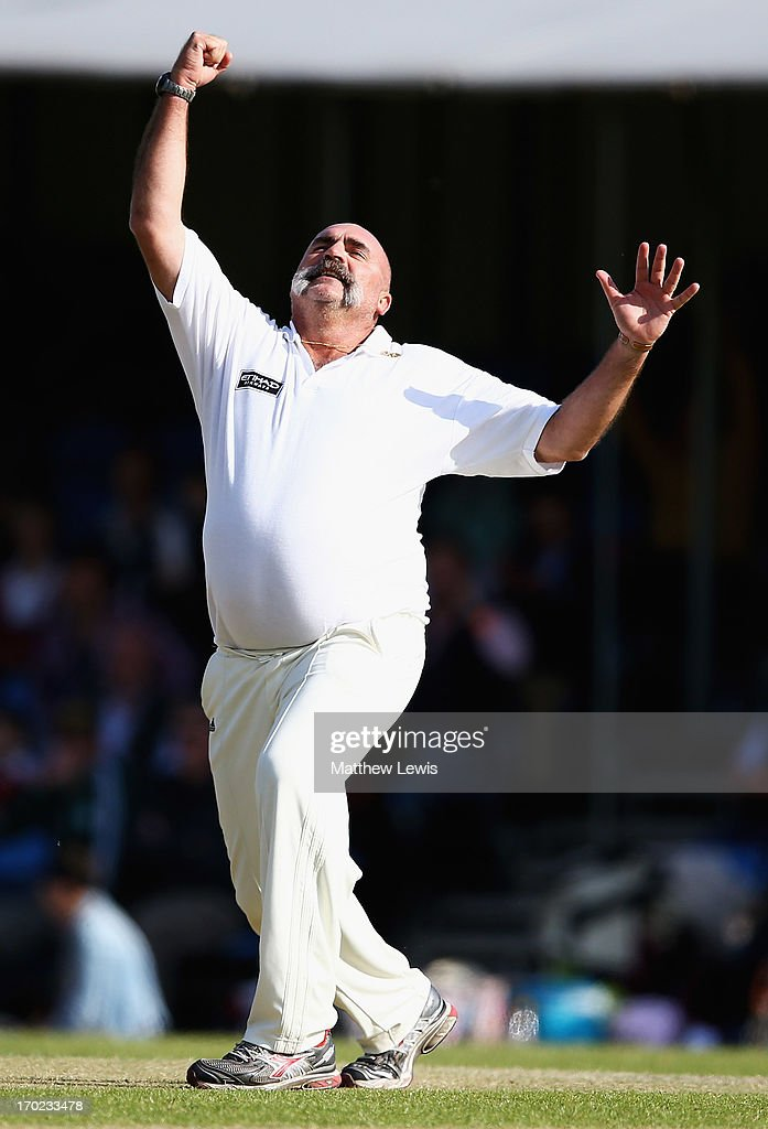 <a gi-track='captionPersonalityLinkClicked' href=/galleries/search?phrase=Merv+Hughes&family=editorial&specificpeople=686601 ng-click='$event.stopPropagation()'>Merv Hughes</a> of Shane Warne's Australia celebrates his hat trick wicket, after bowling Mark Nicholas of Michael Vaughan's England for LBW during the Shane Warne's Australia vs Michael Vaughan's England T20 match at Circenster Cricket Club on June 9, 2013 in Cirencester, England.
