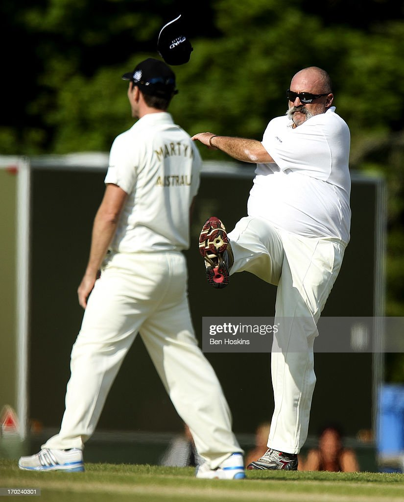 <a gi-track='captionPersonalityLinkClicked' href=/galleries/search?phrase=Merv+Hughes&family=editorial&specificpeople=686601 ng-click='$event.stopPropagation()'>Merv Hughes</a> vents his frustration during Shane Warne's Australia vs Michael Vaughan's England T20 match at Cirencester Cricket Club on June 09, 2013 in Cirencester, England.