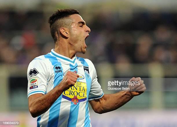 Mervan Celik of Pescara celebrates after scoring a goal during the Serie A match between ACF Fiorentina and Pescara at Stadio Artemio Franchi on...