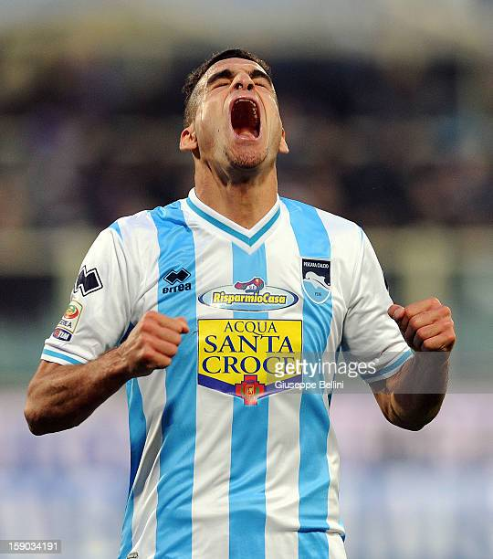 Mervan Celik of Pescara celebrates after scoring the goal 02 during the Serie A match between ACF Fiorentina and Pescara at Stadio Artemio Franchi on...
