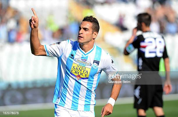 Mervan Celik of Pescara celebrates after scoring their first goal during the Serie A match between Pescara and UC Sampdoria at Adriatico Stadium on...