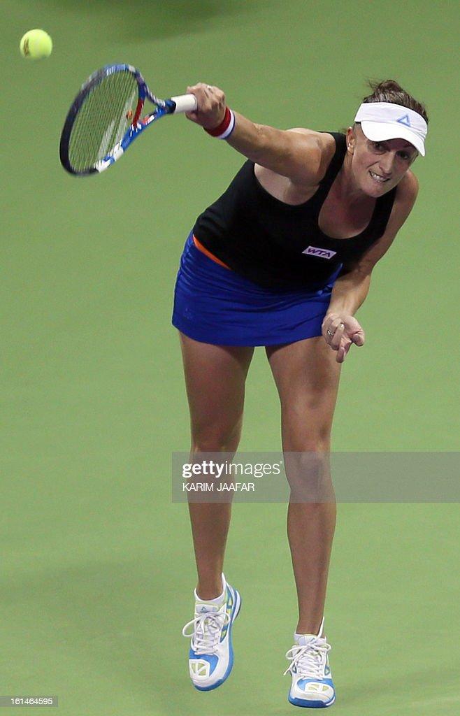 Mervana Jugic Salkic of Bosnia returns the ball to Caroline Wozniacki of Denmark during their match on the first day of the WTA Qatar Open in the Qatari capital, on February 11, 2013.