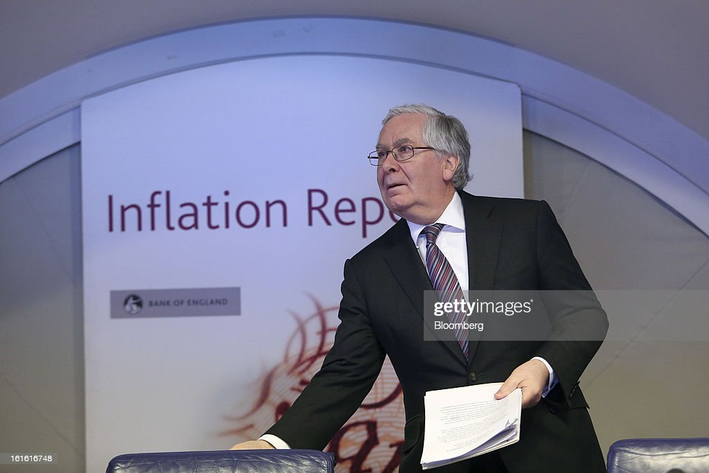 Mervyn King, governor of the Bank of England, arrives for the bank's quarterly inflation report news conference at the Bank of England, in London, U.K., on Wednesday, Feb. 13, 2013. King said Britain faces a further bout of inflation and a muted economic recovery, and pledged officials will look through the volatility in prices to keep nurturing growth where they can. Photographer: Chris Ratcliffe/Bloomberg via Getty Images