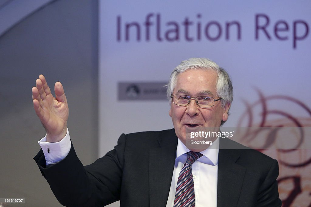 <a gi-track='captionPersonalityLinkClicked' href=/galleries/search?phrase=Mervyn+King+-+Economist&family=editorial&specificpeople=14888473 ng-click='$event.stopPropagation()'>Mervyn King</a>, governor of the Bank of England, gestures during the bank's quarterly inflation report news conference at the Bank of England, in London, U.K., on Wednesday, Feb. 13, 2013. King said Britain faces a further bout of inflation and a muted economic recovery, and pledged officials will look through the volatility in prices to keep nurturing growth where they can. Photographer: Chris Ratcliffe/Bloomberg via Getty Images