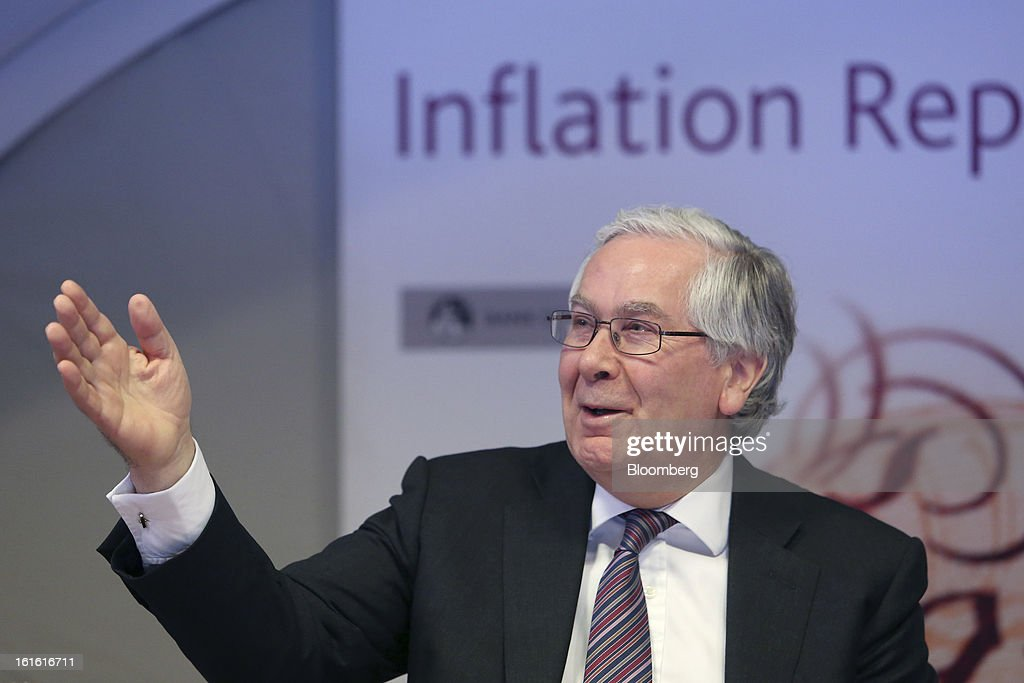 Mervyn King, governor of the Bank of England, gestures during the bank's quarterly inflation report news conference at the Bank of England, in London, U.K., on Wednesday, Feb. 13, 2013. King said Britain faces a further bout of inflation and a muted economic recovery, and pledged officials will look through the volatility in prices to keep nurturing growth where they can. Photographer: Chris Ratcliffe/Bloomberg via Getty Images