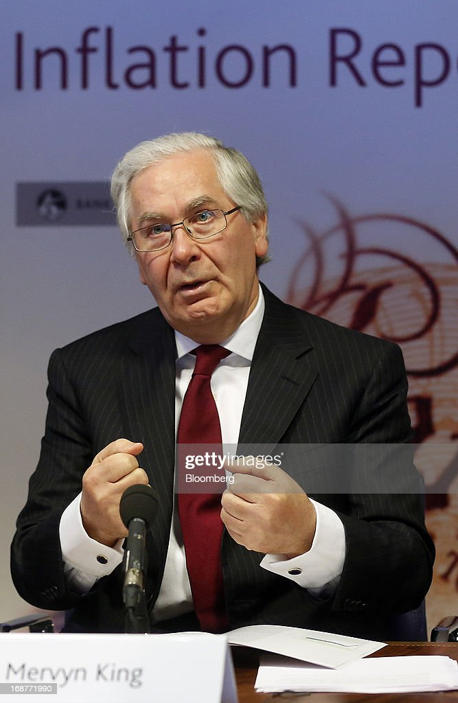 <a gi-track='captionPersonalityLinkClicked' href=/galleries/search?phrase=Mervyn+King+-+Economist&family=editorial&specificpeople=14888473 ng-click='$event.stopPropagation()'>Mervyn King</a>, governor of the Bank of England, gestures during the bank's quarterly inflation report news conference at the Bank of England in London, U.K., on Wednesday, May, 15, 2013. The Bank of England raised its forecasts for economic growth and said it may hit its 2 percent inflation target quicker than previously estimated. Photographer: Simon Dawson/Bloomberg via Getty Images