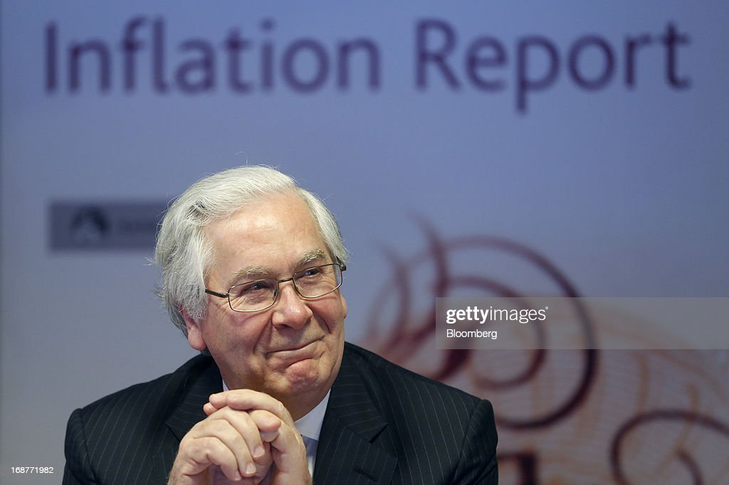 <a gi-track='captionPersonalityLinkClicked' href=/galleries/search?phrase=Mervyn+King+-+Economist&family=editorial&specificpeople=14888473 ng-click='$event.stopPropagation()'>Mervyn King</a>, governor of the Bank of England, reacts during the bank's quarterly inflation report news conference at the Bank of England in London, U.K., on Wednesday, May, 15, 2013. The Bank of England raised its forecasts for economic growth and said it may hit its 2 percent inflation target quicker than previously estimated. Photographer: Simon Dawson/Bloomberg via Getty Images