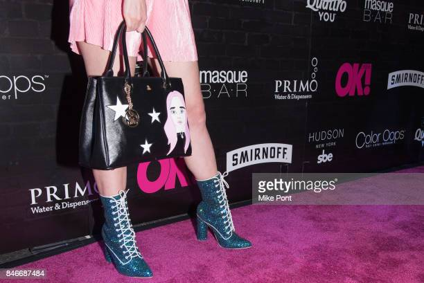 Mery Racauchi purse and boot detail attends OK Magazine's Fall Fashion Week 2017 Event at Hudson Hotel on September 13 2017 in New York City