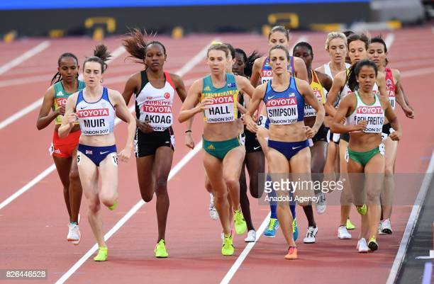 Meryem Akdag of Turkey Laura Muir of Great Britain and Linden Hall of Australia compete in the women's 1500m Heats during the 'IAAF Athletics World...