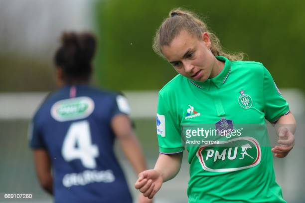 Meryl Cirri of Saint Etienne looks dejected during the women's National Cup match between Paris Saint Germain PSG and AS Saint Etienne at Camp des...
