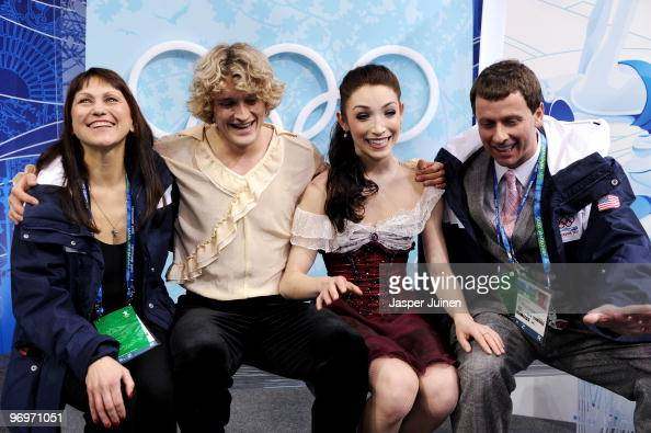 Meryl Davies and Charlie White of USA are seen in the kiss and cry area after they competed in the free dance portion of the Ice Dance competition on...