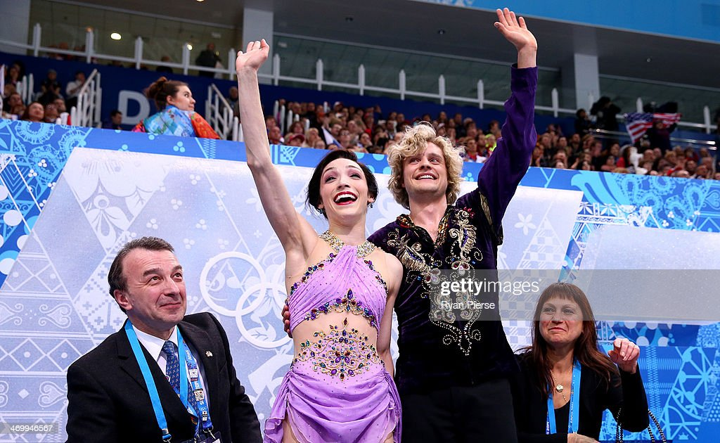 <a gi-track='captionPersonalityLinkClicked' href=/galleries/search?phrase=Meryl+Davis&family=editorial&specificpeople=3995758 ng-click='$event.stopPropagation()'>Meryl Davis</a> and Charlie White of the United States wave to fans after competing in the Figure Skating Ice Dance Free Dance on Day 10 of the Sochi 2014 Winter Olympics at Iceberg Skating Palace on February 17, 2014 in Sochi, Russia.