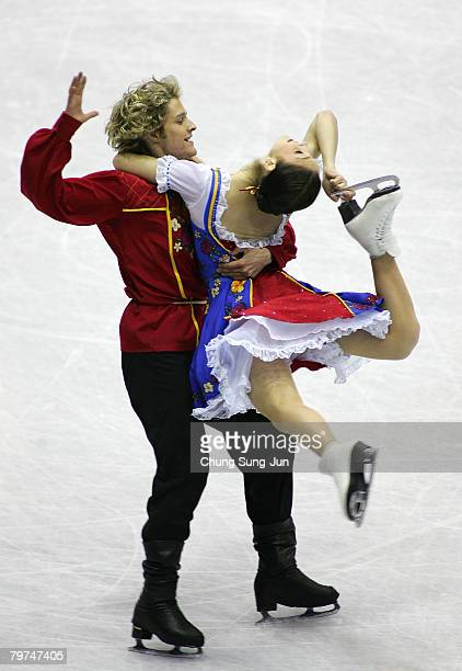 Meryl Davis and Charlie White of the USA perform during an Ice Dancing Original Dance skating session for the the International Skating Union Four...