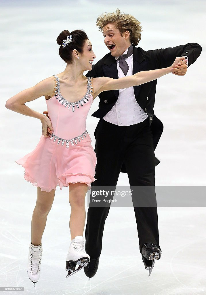 Meryl Davis (L) and Charlie White perform during the ice dance short program at Skate America at Joe Louis Arena on October 18, 2013 in Detroit, Michigan.