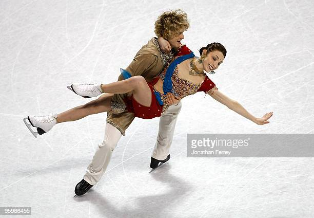 Meryl Davis and Charlie White skate during the dance original program at the US Figure Skating Championships at Spokane Arena on January 22 2010 in...