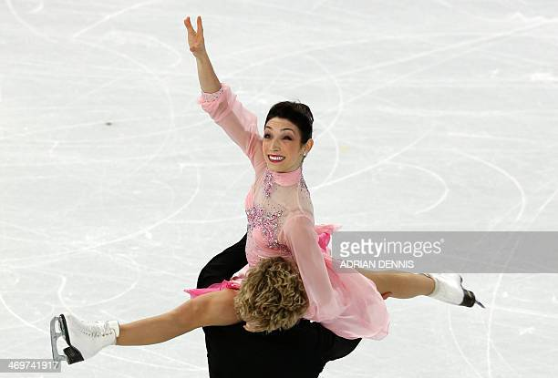 US Meryl Davis and US Charlie White perform in the Figure Skating Ice Dance Short Dance at the Iceberg Skating Palace during the Sochi Winter...
