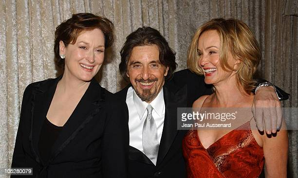 Meryl Streep Al Pacino and Jessica Lange during The 61st Annual Golden Globe Awards HBO Party at Beverly Hilton in Beverly Hills California United...