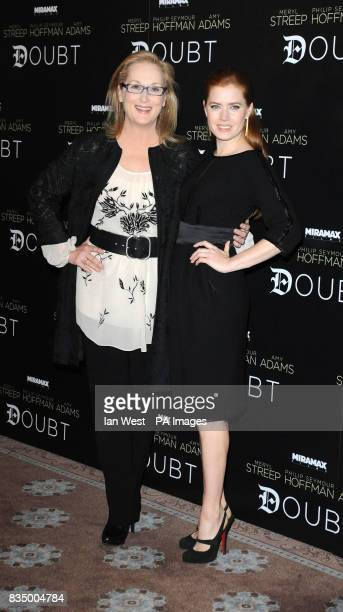 Meryl Streep and Amy Adams pose for pictures to promote latest film Doubt at Claridges Hotel in London