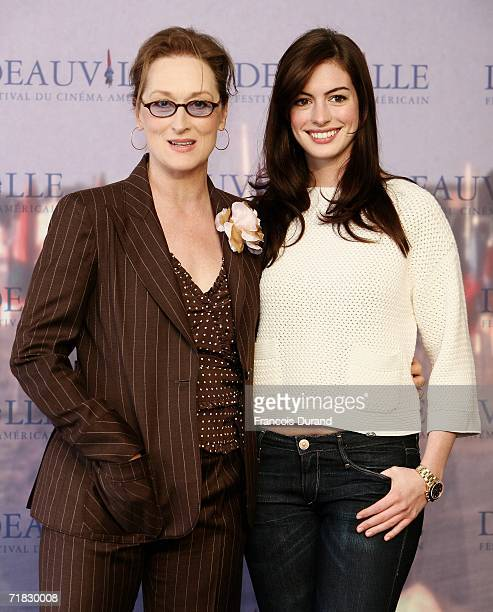 Meryl Streep and Anne Hathaway pose at the photocall for The devil wears Prada at the 32nd Deauville Festival Of American Film on September 9 2006 in...