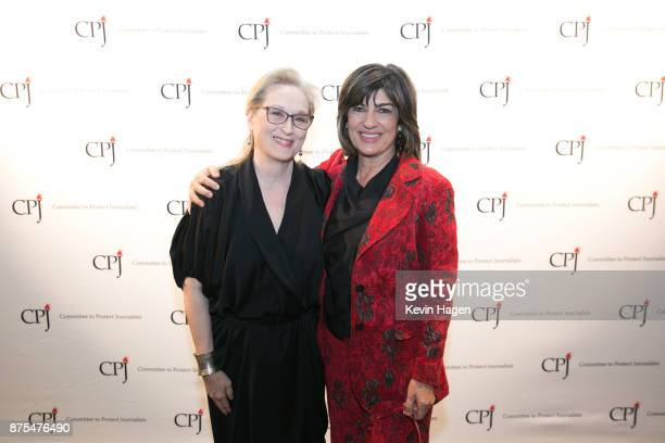 Meryl Streep and Christiane Amanpour pose at CPJ's annual International Press Freedom Awards on November 15 2017 in New York City