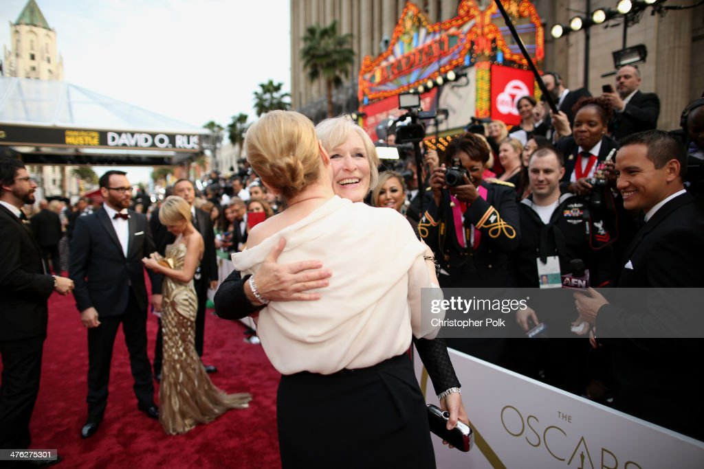 Meryl Streep and Glenn Close attend the Oscars at Hollywood & Highland Center on March 2, 2014 in Hollywood, California.