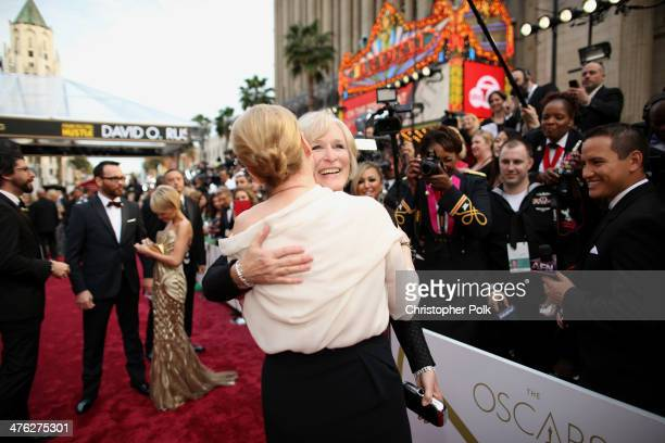 Meryl Streep and Glenn Close attend the Oscars at Hollywood Highland Center on March 2 2014 in Hollywood California