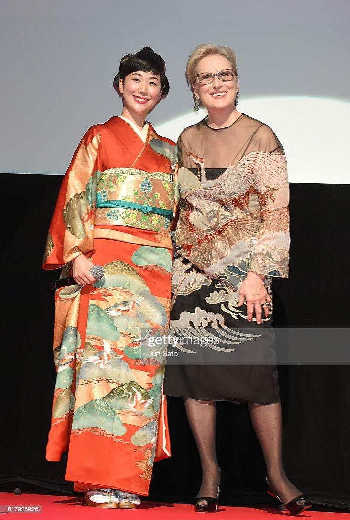 Meryl Streep and Haru Kuroki attend the Tokyo International Film Festival 2016 Opening Ceremony at Ex Theater Roppongi on October 25, 2016 in Tokyo, Japan.