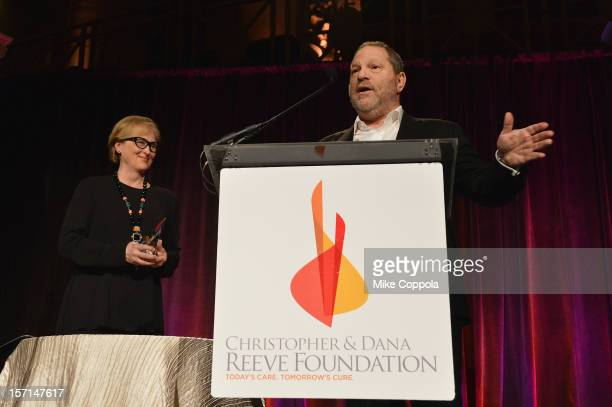 Meryl Streep and Harvey Weinstein speak at the Christopher Dana Reeve Foundation's A Magical Evening Gala at Cipriani Wall Street on November 28 2012...