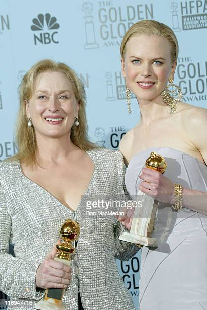 Meryl Streep and Nicole Kidman during The 60th Annual Golden Globe Awards Press Room at The Beverly Hilton Hotel in Beverly Hills California United...