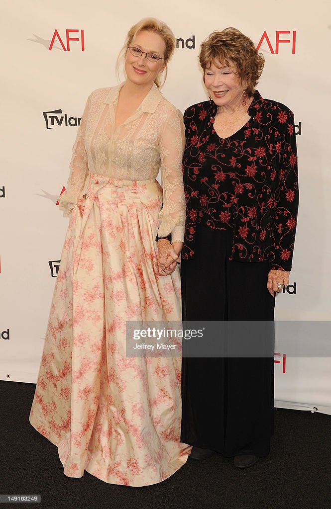 Meryl Streep and Shirley MacLaine arrive at the 40th AFI Life Achievement Award honoring Shirley MacLaine at Sony Pictures Studios on June 7, 2012 in Los Angeles, California.