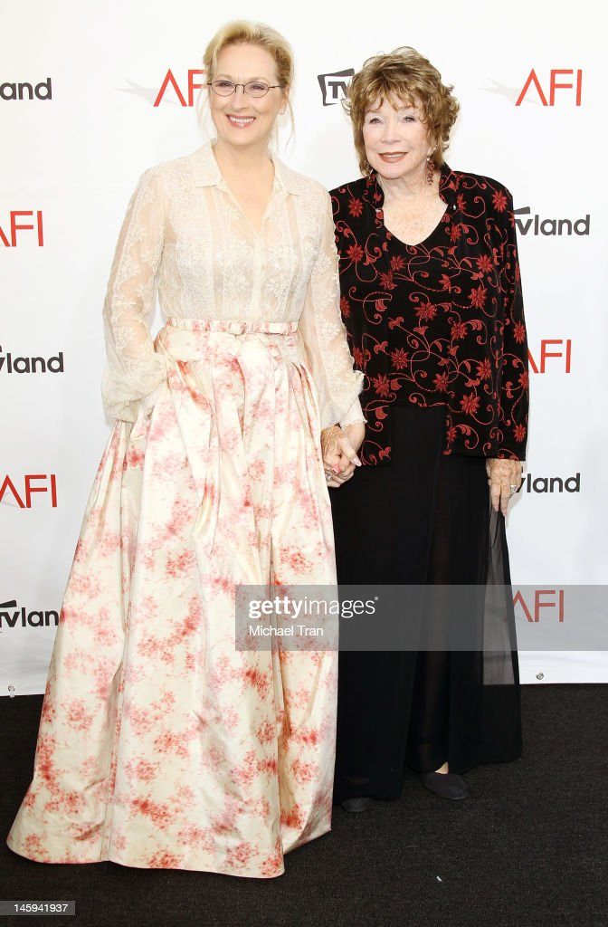 <a gi-track='captionPersonalityLinkClicked' href=/galleries/search?phrase=Meryl+Streep&family=editorial&specificpeople=171097 ng-click='$event.stopPropagation()'>Meryl Streep</a> (L) and <a gi-track='captionPersonalityLinkClicked' href=/galleries/search?phrase=Shirley+MacLaine&family=editorial&specificpeople=204788 ng-click='$event.stopPropagation()'>Shirley MacLaine</a> arrive at TV Land Presents: AFI Life Achievement Award honoring <a gi-track='captionPersonalityLinkClicked' href=/galleries/search?phrase=Shirley+MacLaine&family=editorial&specificpeople=204788 ng-click='$event.stopPropagation()'>Shirley MacLaine</a> held at Sony Studios on June 7, 2012 in Los Angeles, California.