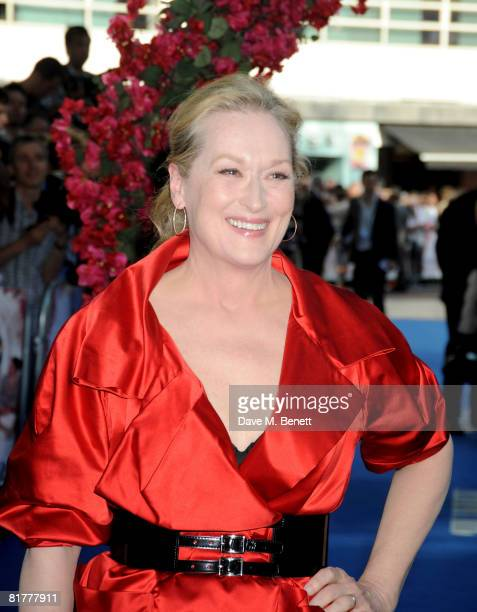 Meryl Streep arrives at the UK film premiere of 'Mamma Mia' the Movie at the Odeon Leicester Square on June 30 2008 in London England