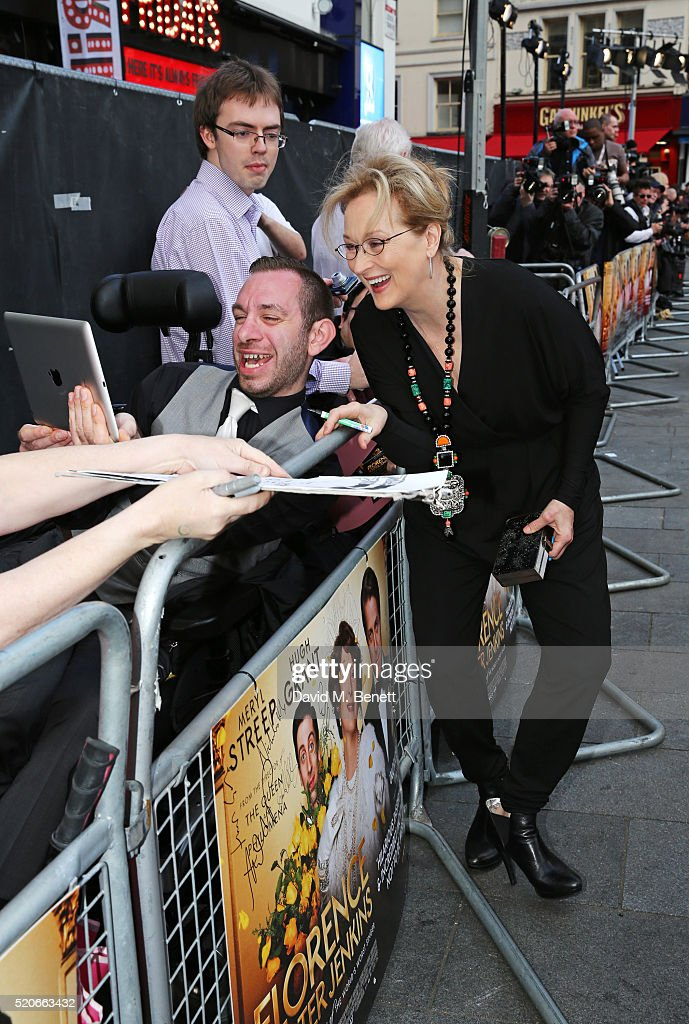 Meryl Streep arrives for the UK film premiere Of 'Florence Foster Jenkins' at Odeon Leicester Square on April 12, 2016 in London, England.