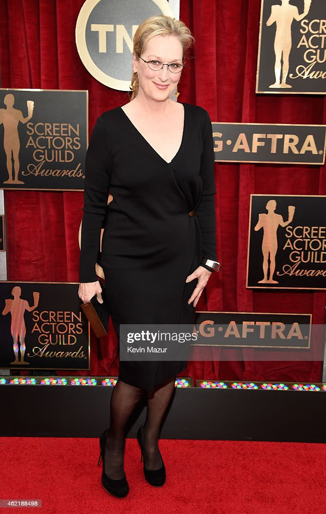 <a gi-track='captionPersonalityLinkClicked' href=/galleries/search?phrase=Meryl+Streep&family=editorial&specificpeople=171097 ng-click='$event.stopPropagation()'>Meryl Streep</a> attends TNT's 21st Annual Screen Actors Guild Awards at The Shrine Auditorium on January 25, 2015 in Los Angeles, California. 25184_016