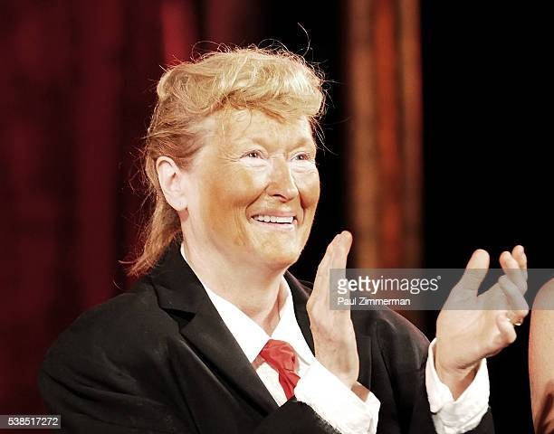 Meryl Streep dressed as Donald Trump performs onstage at the 2016 Public Theater Gala at Delacorte Theater on June 6 2016 in New York City