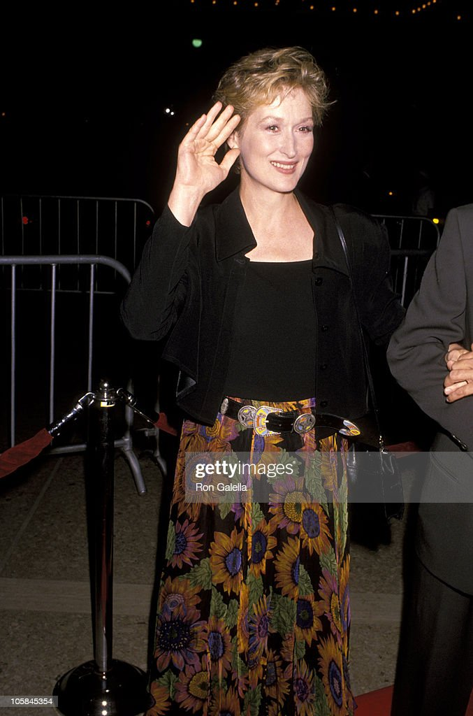 <a gi-track='captionPersonalityLinkClicked' href=/galleries/search?phrase=Meryl+Streep&family=editorial&specificpeople=171097 ng-click='$event.stopPropagation()'>Meryl Streep</a> during 'Postcards From the Edge' Los Angeles Premiere at Cineplex Odeon Century Plaza Cinemas in Los Angeles, California, United States.