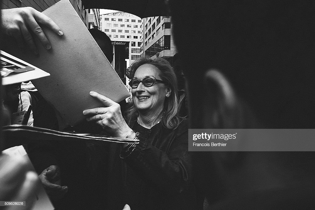 <a gi-track='captionPersonalityLinkClicked' href=/galleries/search?phrase=Meryl+Streep&family=editorial&specificpeople=171097 ng-click='$event.stopPropagation()'>Meryl Streep</a> is seen with fans during the 66th Berlinale International Film Festival on February 11, 2016 in Berlin, Germany.