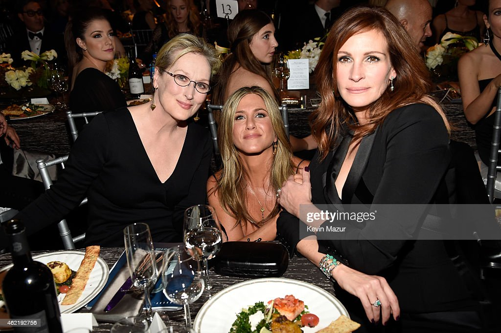 Meryl Streep, Jennifer Aniston and Julia Roberts attend TNT's 21st Annual Screen Actors Guild Awards at The Shrine Auditorium on January 25, 2015 in Los Angeles, California. 25184_016