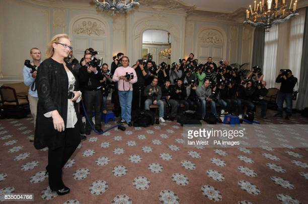 Meryl Streep poses for pictures to promote latest film Doubt at Claridges Hotel in London