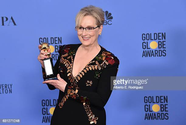 Meryl Streep poses in the press room during the 74th Annual Golden Globe Awards at The Beverly Hilton Hotel on January 8 2017 in Beverly Hills...