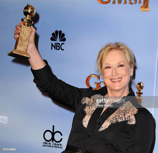 Meryl Streep poses in the press roon at the 69th Annual Golden Globe Awards at The Beverly Hilton hotel on January 15 2012 in Beverly Hills California