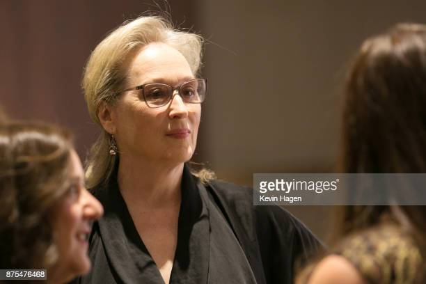 Meryl Streep speaks with attendees at CPJ's annual International Press Freedom Awards on November 15 2017 in New York City