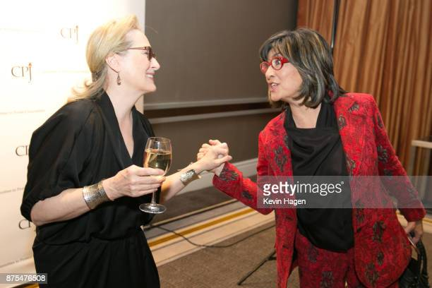 Meryl Streep speaks with Christiane Amanpour at CPJ's annual International Press Freedom Awards on November 15 2017 in New York City