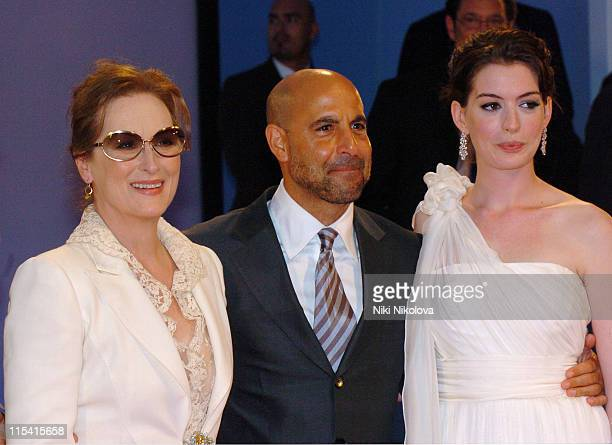 Meryl Streep Stanley Tucci and Anne Hathaway during The 63rd International Venice Film Festival 'The Devil Wears Prada' Arrivals at Veneto Italy in...