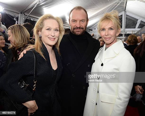 Meryl Streep Sting and Trudie Styler attend the world premiere of 'Into the Woods' at the Ziegfeld Theatre on December 8 2014 in New York City The...
