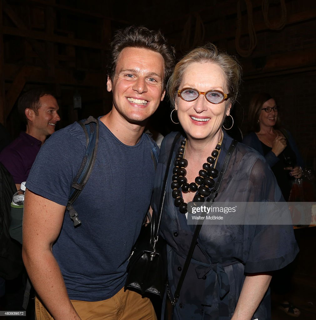 Meryl Streep visits Jonathan Groff from the cast of 'Hamilton' backstage after a performance at the Richard Rodgers Theatre on August 13 2015 in New...