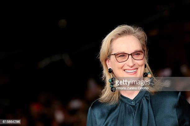 Meryl Streep walks a red carpet for 'Florence Foster Jenkins' during the 11th Rome Film Festival at Auditorium Parco Della Musica on October 20 2016...