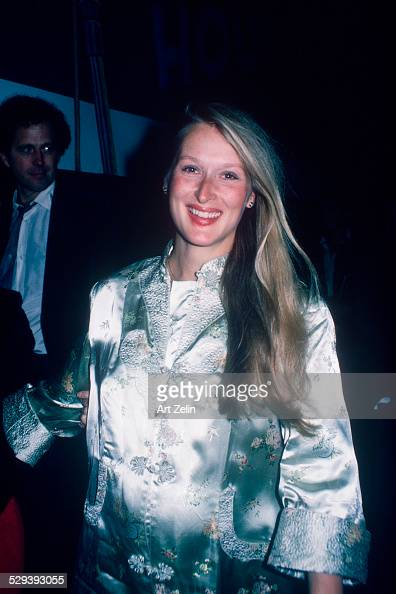 Meryl Streep wearing a gray brocade dress she is pregnant circa 1970 New York