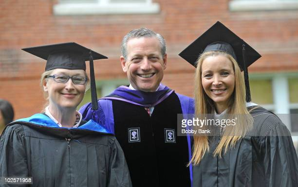 Meryl Streep William A Plapinger Chair Board of Trustees and Lisa Kudrow attend the Vassar College commencement at Vassar College on May 23 2010 in...